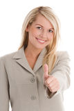 Geschäftsfrau, die Daumen aufgibt Stockfoto