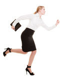 Geschäftsfrau, die in den vollen Körper lokalisiert läuft lizenzfreie stockfotografie