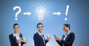 Geschäftsfrau, die in der Folge mit Ideen und Geistesblitzprozeßikonen denkt Stockbilder