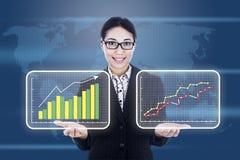 Geschäftsfrau, die Diagramm des Profites darstellt Stockbilder