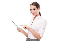 Geschäftsfrau, die digitale Tablette hält lizenzfreie stockfotografie