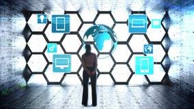 Geschäftsfrau, die digitalen Geistesblitz betrachtet stock abbildung