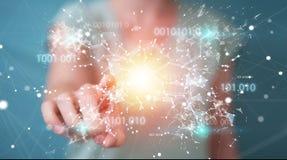 Geschäftsfrau, die digitales binär Code-Verbindungsnetz 3D bezüglich verwendet Stockfotografie