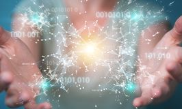 Geschäftsfrau, die digitales binär Code-Verbindungsnetz 3D bezüglich verwendet Lizenzfreies Stockfoto