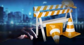 Geschäftsfrau, die digitales 3D überträgt im Bau Zeichen verwendet Lizenzfreies Stockfoto