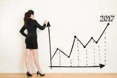 Geschäftsfrau, die ein Diagramm auf weißem Wandhintergrund zeichnet Lizenzfreies Stockfoto