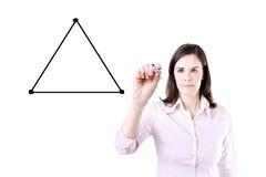 Geschäftsfrau, die ein Diagramm mit der Balance zwischen drei Seiten von einem Dreieck zeichnet Lizenzfreies Stockfoto