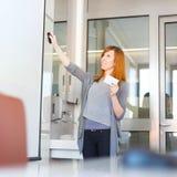 Geschäftsfrau, die ein Gespräch gibt Stockbild