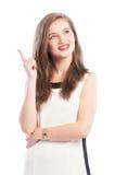 Geschäftsfrau, die ein neues großes ideea hat Stockfotografie