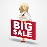 Geschäftsfrau, die eine große Verkaufsfahne hält Stockbild