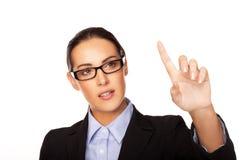 Geschäftsfrau, die eine virtuelle Schnittstelle verwendet stockbilder