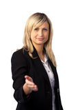 Geschäftsfrau, die eine willkommene Geste gibt Lizenzfreie Stockbilder