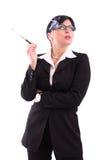 Geschäftsfrau, die eine Zigarette anhält Lizenzfreie Stockfotos