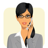 Geschäftsfrau, die einen Handy anhält Lizenzfreie Stockfotos