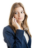 Geschäftsfrau, die einen Handy verwendet Lizenzfreie Stockfotografie