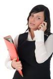 Geschäftsfrau, die einen Handy verwendet lizenzfreies stockfoto