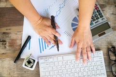 Geschäftsfrau, die einen Taschenrechner verwendet, um die Zahlen zu berechnen Stockbilder