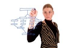 Geschäftsfrau, die einen Unternehmensplan zeichnet Lizenzfreie Stockfotografie