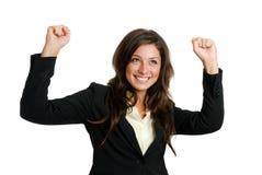 Geschäftsfrau, die Erfolg feiert lizenzfreies stockbild