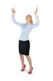 Geschäftsfrau, die etwas anhebt Lizenzfreie Stockfotografie