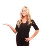 Geschäftsfrau, die etwas zeigt Lizenzfreies Stockfoto