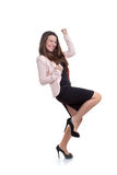 Geschäftsfrau, die Förderung feiert Stockfoto