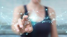 Geschäftsfrau, die FliegenNetwork Connection 3D Wiedergabe verwendet Stockfotografie