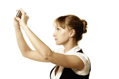 Geschäftsfrau, die Fotoschuß bildet Lizenzfreie Stockfotos