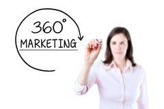 Geschäftsfrau, die 360 Grad vermarkten Konzept auf dem virtuellen Schirm zeichnet Lokalisiert auf Weiß Stockbilder