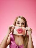 Geschäftsfrau, die großen Kuss sendet Stockfoto