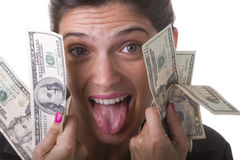 Geschäftsfrau, die ihr Geld zeigt Stockfotografie
