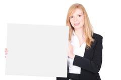 Geschäftsfrau, die ihre Firma fördert Stockfoto