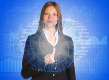Geschäftsfrau, die ihren Finger auf dem Glühen zeigt Stockbild