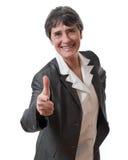 Geschäftsfrau, die Kamera zeigt Stockbilder