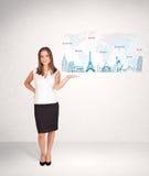 Geschäftsfrau, die Karte mit berühmten Städten und Marksteinen darstellt Stockfotografie