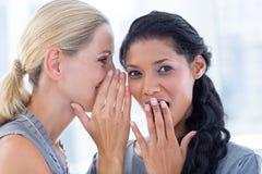 Geschäftsfrau, die Klatsch zu ihrem Kollegen flüstert stockfotos