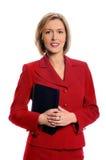 Geschäftsfrau, die kleinen Laptop anhält Stockfoto