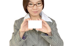 Geschäftsfrau, die namecard zeigt Lizenzfreie Stockbilder