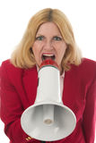 Geschäftsfrau, die Megaphon verwendet lizenzfreie stockfotografie