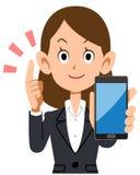Geschäftsfrau, die mit Smartphone erklärt stock abbildung