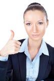 Geschäftsfrau, die oben Daumen gestikuliert Lizenzfreie Stockfotos