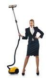 Geschäftsfrau, die Reinigung auf Weiß tut Stockfotos