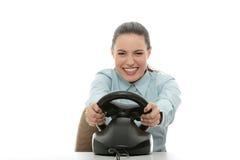 Geschäftsfrau, die Rennenspiel spielt Lizenzfreies Stockbild
