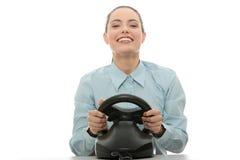 Geschäftsfrau, die Rennenspiel spielt Lizenzfreie Stockbilder