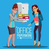 Geschäftsfrau, die Schreibarbeits-Vektor tut Auf grünem Hintergrund Sehr beschäftigter Tag Zur übermäßigen Arbeit Buchhaltungs-Bü vektor abbildung