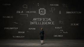 Geschäftsfrau, die schwarze Wand, digitale Ikone der Handschrift, Konzept 'der künstlichen Intelligenz' an der Tafel steht lizenzfreie abbildung