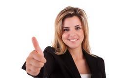 Geschäftsfrau, die sich Daumen zeigt lizenzfreies stockfoto