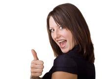 Geschäftsfrau, die sich einen Daumen zeigt stockfotografie