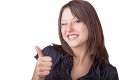 Geschäftsfrau, die sich einen Daumen zeigt stockbild