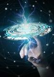 Geschäftsfrau, die sich hin- und herbewegendes 3D überträgt digitales Technologieblau I berührt Stockfoto